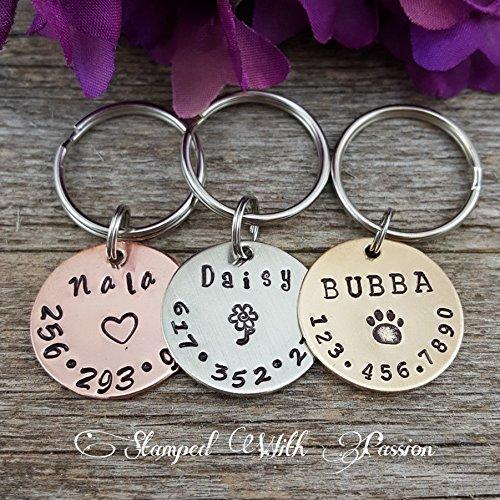 Dog Tag - Dog id Tag - Dog Name Tag - Hand Stamped - Paw Print Dog Tag - Dog tag for Collar - Pet id tag dog - Personalized tag - Custom Tag - Cat id tag - Horse halter tag ()