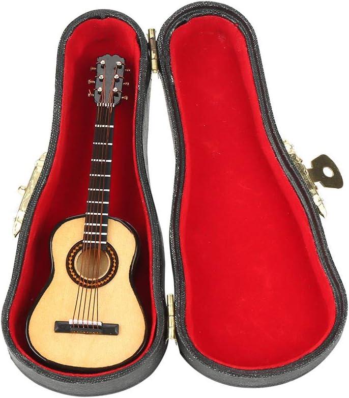 Mini modelo de guitarra de madera en miniatura con soporte y estuche expositor mini instrumento musical miniatura casa de muñecas modelo decoración del hogar