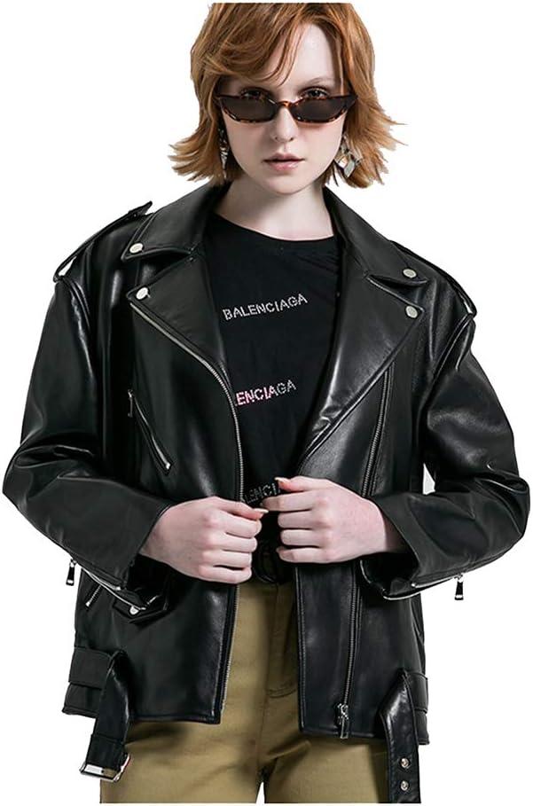 GWDYE Chaqueta de Moto de Cuero para Mujer, Moda Fresca Corta y Simple Delgada, 100% Cuero, Hecha a Mano, con Mangas Cortas, Faldas Cortas, Camisas, etc, Negro