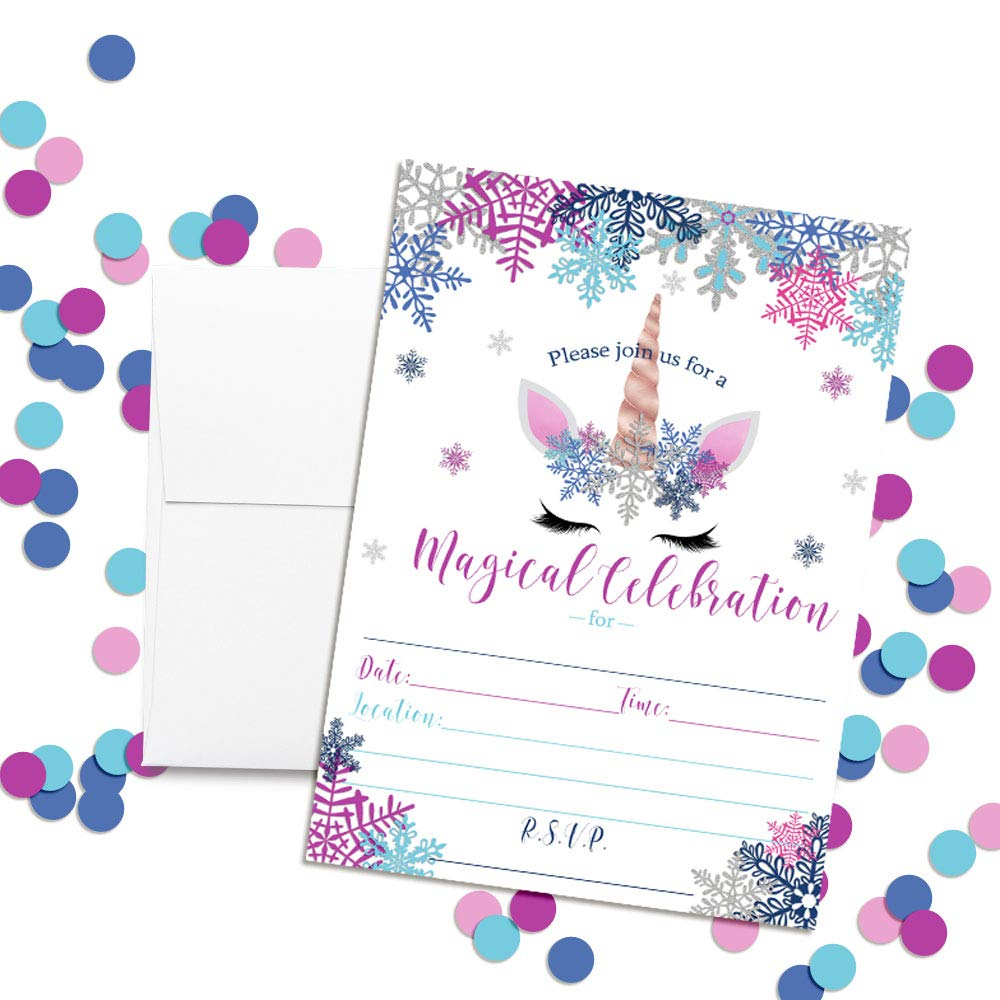 Unicorn Face with Snowflakes Magical Themed Holiday Christmas Birthday Party Invitations 20 5x7 Fill in Cards with Twenty White Envelopes by AmandaCreation