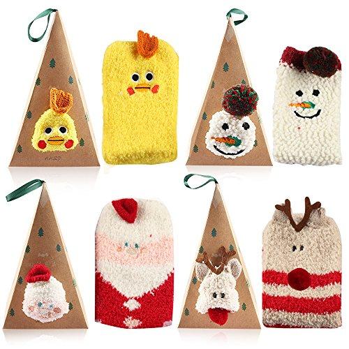 Vanmor 4 Pairs Fuzzy Socks Women Girls Cute Animal Socks with Triangle Box (4 pack-A)