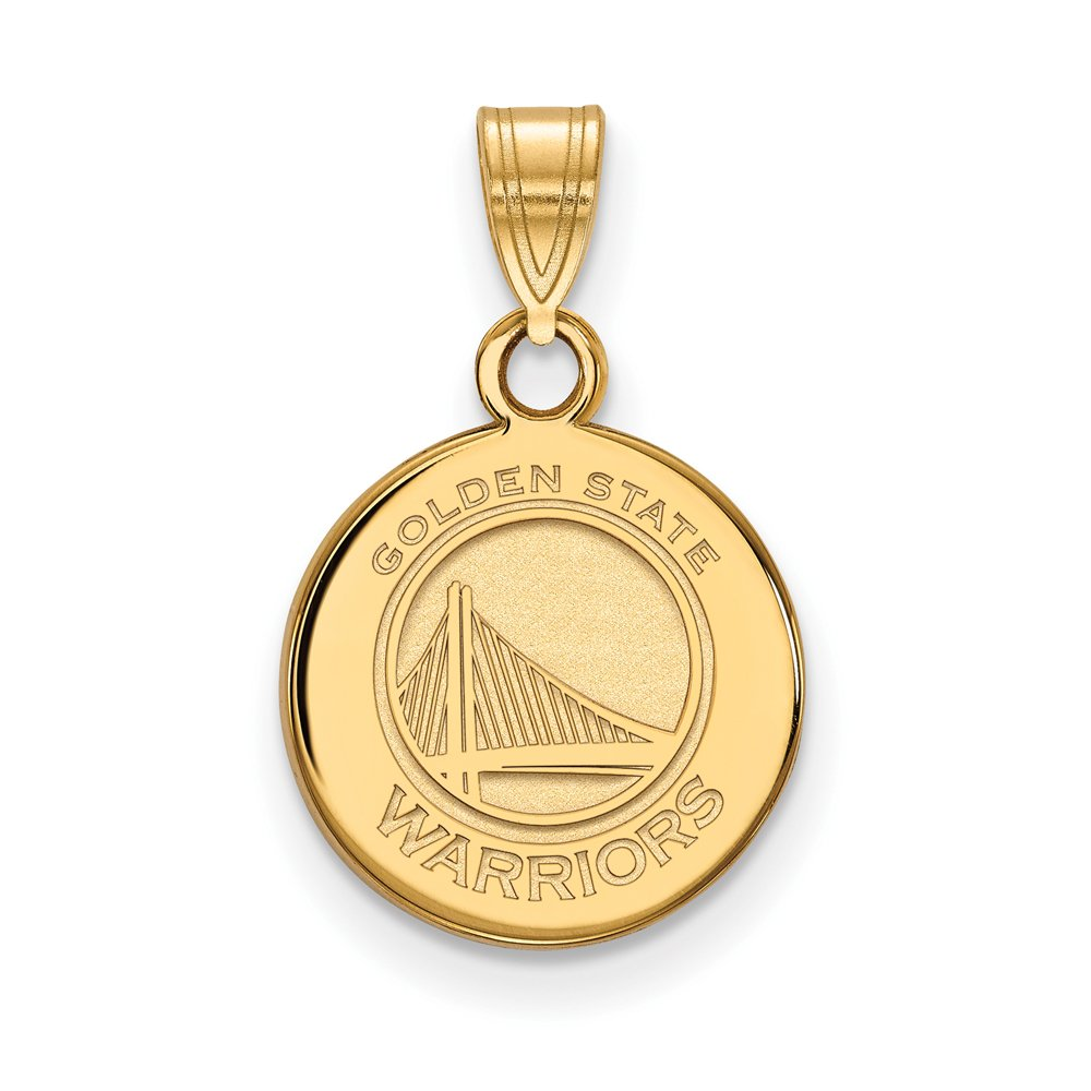 NBA Golden State Warriors Small Disc Pendant in 14K Yellow Gold