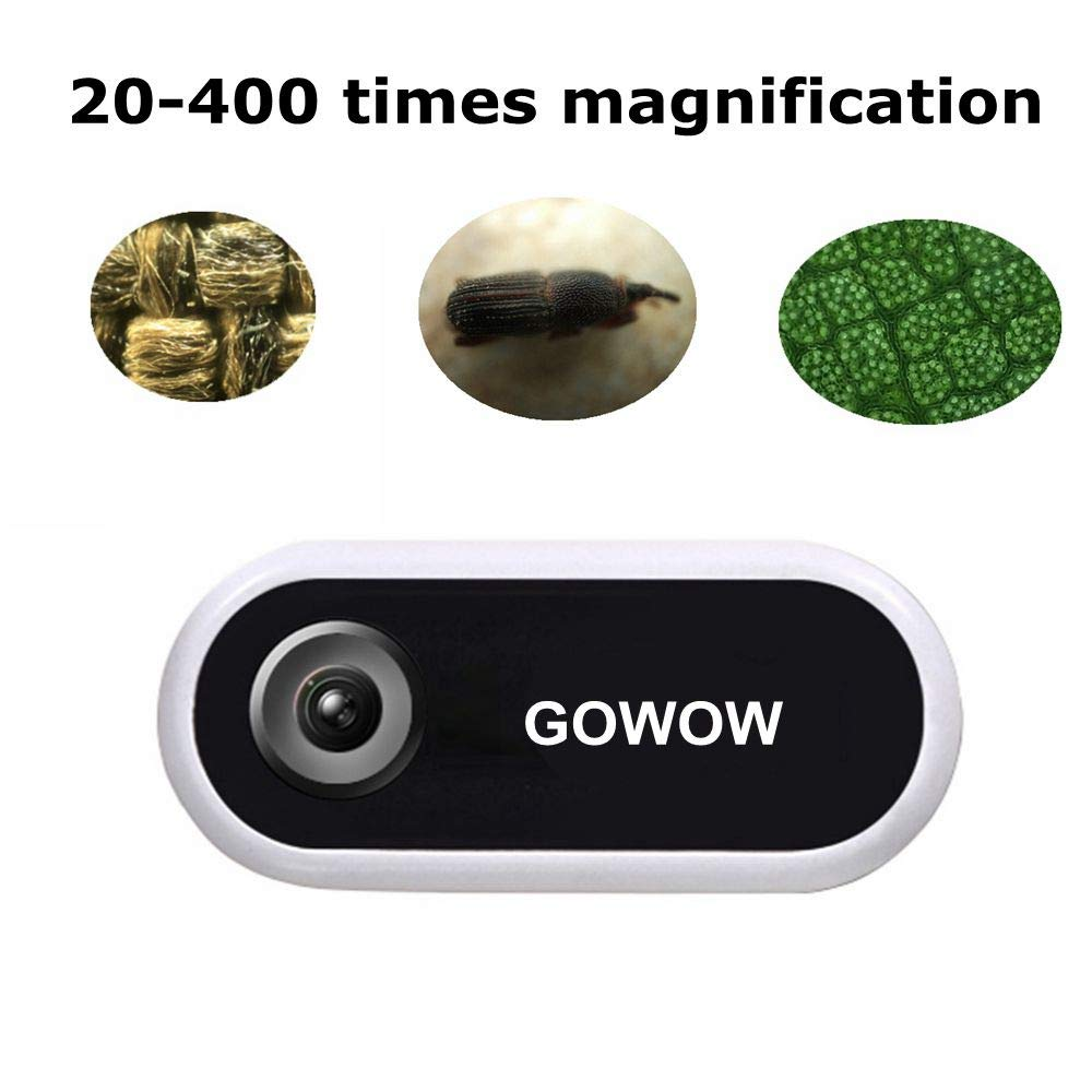 Pocket Digital Microscope Phone with Objective Lens Camera Light and Slides for Kids by GOWOW