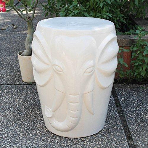 International Caravan OPG-064-AW-IC Furniture Piece Antique White Wild Elephant Drum Ceramic Garden Stool, White/Off-White