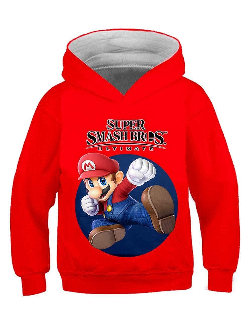 Casual Super Mario Felpa con Cappucci per Bambini,Mario Bros Felpa per Ragazzo e Ragazza Hoodie Pullover Manica Lunga con Cappuccio