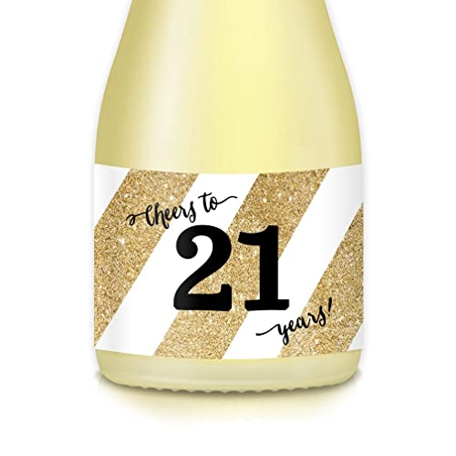 21st Surprise Birthday Party Gift Ideas Decorations Mini Champagne Wine Bottle Labels 20 Count Golden Decals Celebrate 21 Years Old Sister