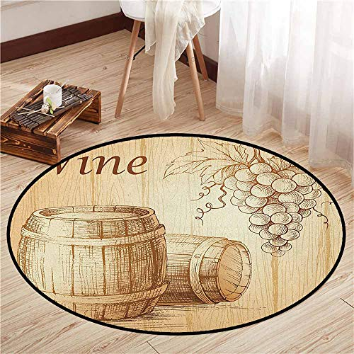 Living Room Area Round Rugs,Wine,Wooden Barrels and Bunch of Grapes on Wood Backdrop Botany Harvest Theme Artwork,Super Absorbs Mud,5'3