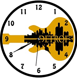 Detroit, High Rise Buildings Silhouette Reflection Electric Guitar Instrument Music Theme, AWall Clock Nice For Gift or Office Home Unique Decorative Clock Wall Decor 12in with Frame, Yellow Black