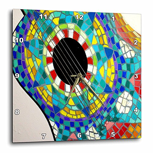 3dRose DPP_60680_1 Photo of Colorful Guitar Made with Mexican Tiles Wall Clock, 10 by 10-Inch