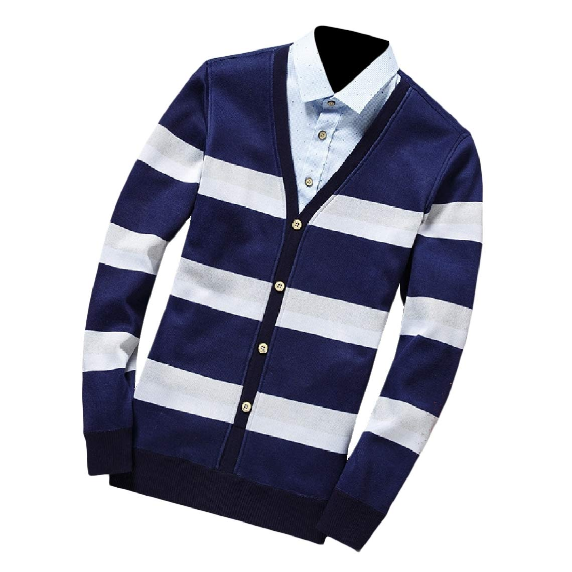 Highisa Mens Fall Winter Fake Two Warm Pullover Turn Down Collar Sweaters