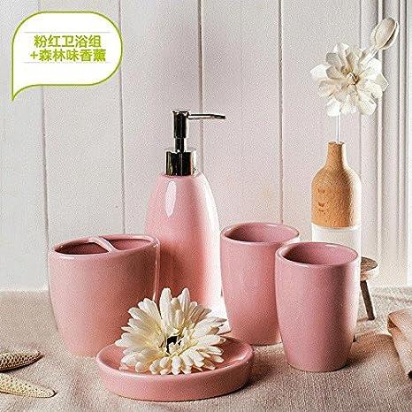 Moderno diseño de 5 piezas de cerámica Set de accesorios de baño, jabonera, porta cepillo de dientes, jabón,C rosa + Palet: Amazon.es: Hogar