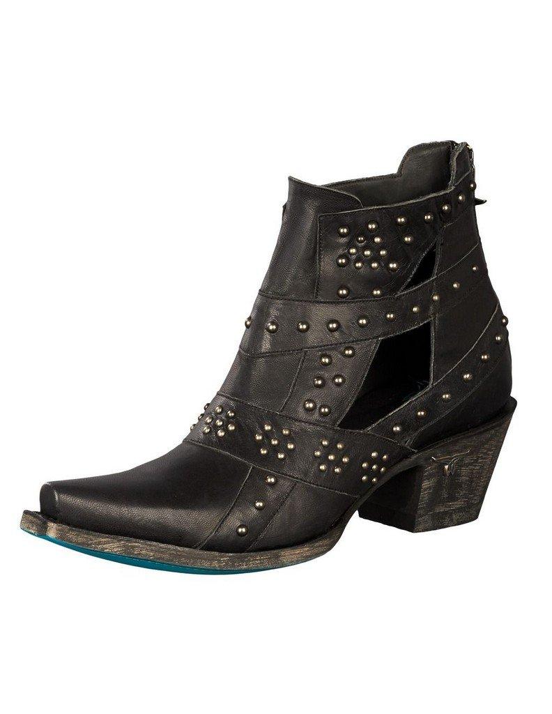 Lane Boots Women's Studs and Straps Boot, Black, 10 Medium US