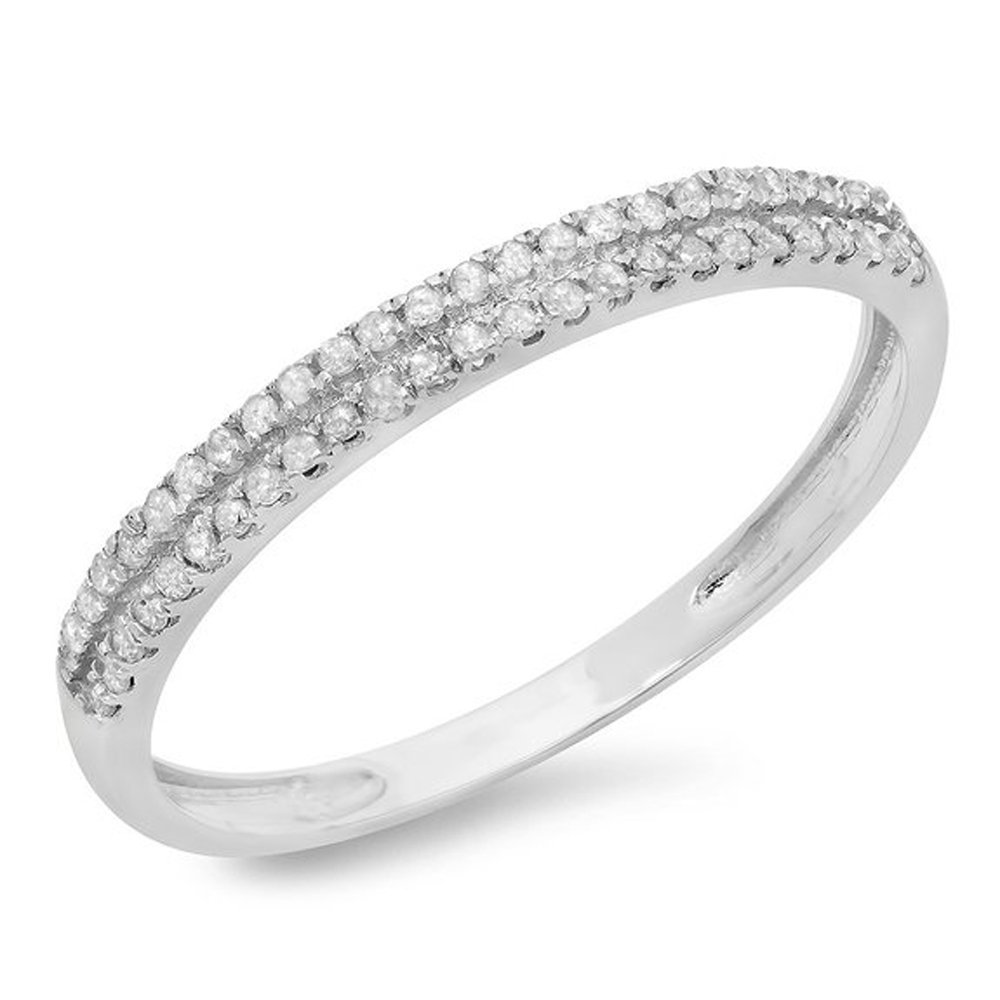 0.14 Carat (ctw) 10K White Gold Round Diamond Ladies Double Row Anniversary Wedding Band (Size 8)