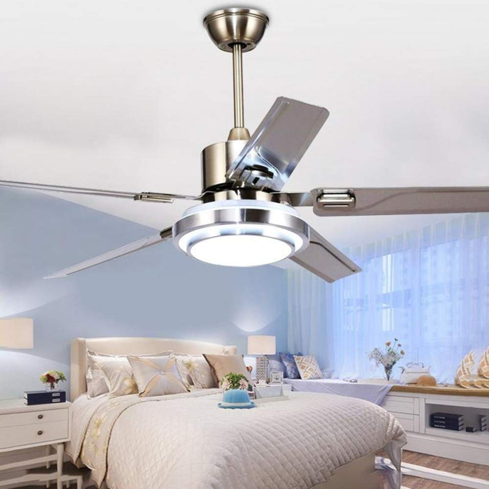LUOLAX Stainless Steel 5 Blades Remote Control Ceiling Fan Light with Three-Color Changes LED Chandelier Decorate for Bedroom, Dinning Room (52 Inch)
