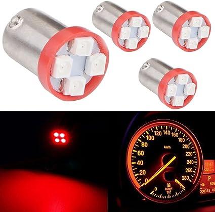 TABEN 10pcs BA9S Super Bright 8000K Red 1210-4SMD LED Lights Bulbs BA9 53 57 1895 64111 Side Door Courtesy Lights Map Dome Lights