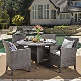 Cheap Cyril Outdoor 5 Piece Grey Wicker Round Dining Set with Light Grey Water Resistant Cushions