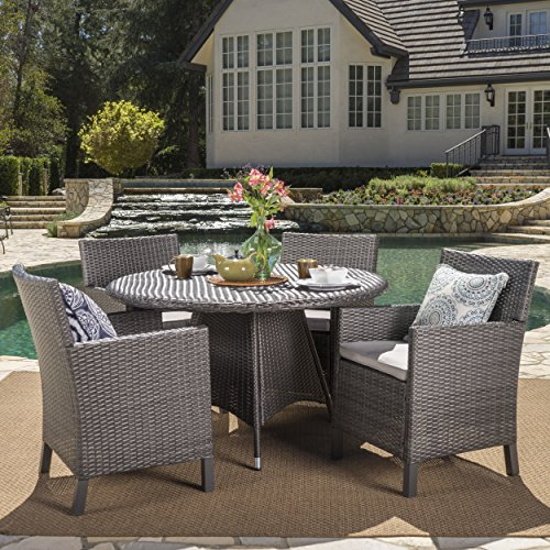 Cyril Outdoor 5 Piece Grey Wicker Round Dining Set with Light Grey Water Resistant Cushions