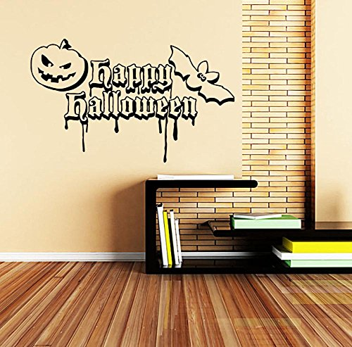 Happy Halloween Mural (BIBITIME Sayings and Quotes Happy Halloween Vinyl Pumpkin Wall Decal Bat Vinyl Sticker for Living Room Home Party PVC Decorations Nursery Kids Room Decor Art)