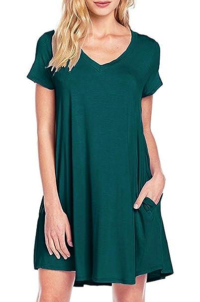 64b716e4ad2c MOLERANI Women s Short Sleeve Summer Pocket Swing Sundress (Dark Green ...