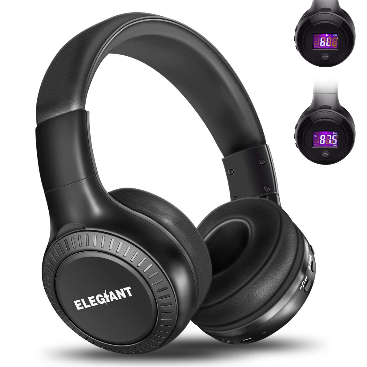 Bluetooth Headphones, ELEGIANT On Ear Bluetooth Headset Foldable with Mic FM Radio Micro SD Card Slot Wired and Bluetooth Headphones Compatible iPhone 8 7 6S 6/Android Phones/Laptop/ PC Black