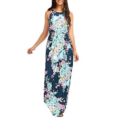 0c1d5a810434 Strandkleider Damen Kleid Lang Elegant Sommer Blumen Drucken Vintage Boho  Sommerkleider Ärmellos Rundhals Blumenkleid Maxikleid