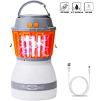 [Newest Version] Bug Zapper LED UV Lamp, Rhino Valley 2 in 1 Mosquito Killer Camping Lantern Waterproof Portable Insect Repellent for Outdoors, Indoors, Home & Travelling - Orange + White