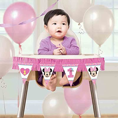 amscan 1st Birthday Minnie Mouse High Chair Decorating Kit Party Supplies Minnie Fun to be One!, Multicolor: Toys & Games