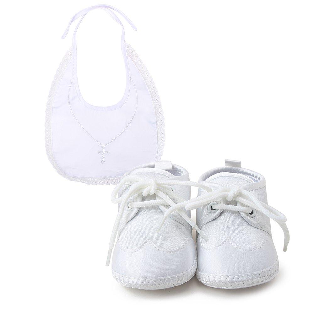 b3478c170a8fd DELEBAO Scarpe per Battesimo o Un Matrimonio Scarpe Primi Passi Bambini  Bianco Sole Bambino Scarpe Stringate