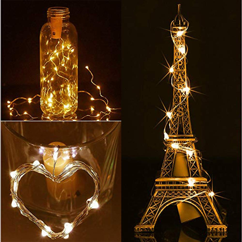 Solar LED String Light, Elevin(TM) 2M 20LED Solar Cork Wine Bottle Stopper Copper Wire String Lights Fairy Lamps (Beige)