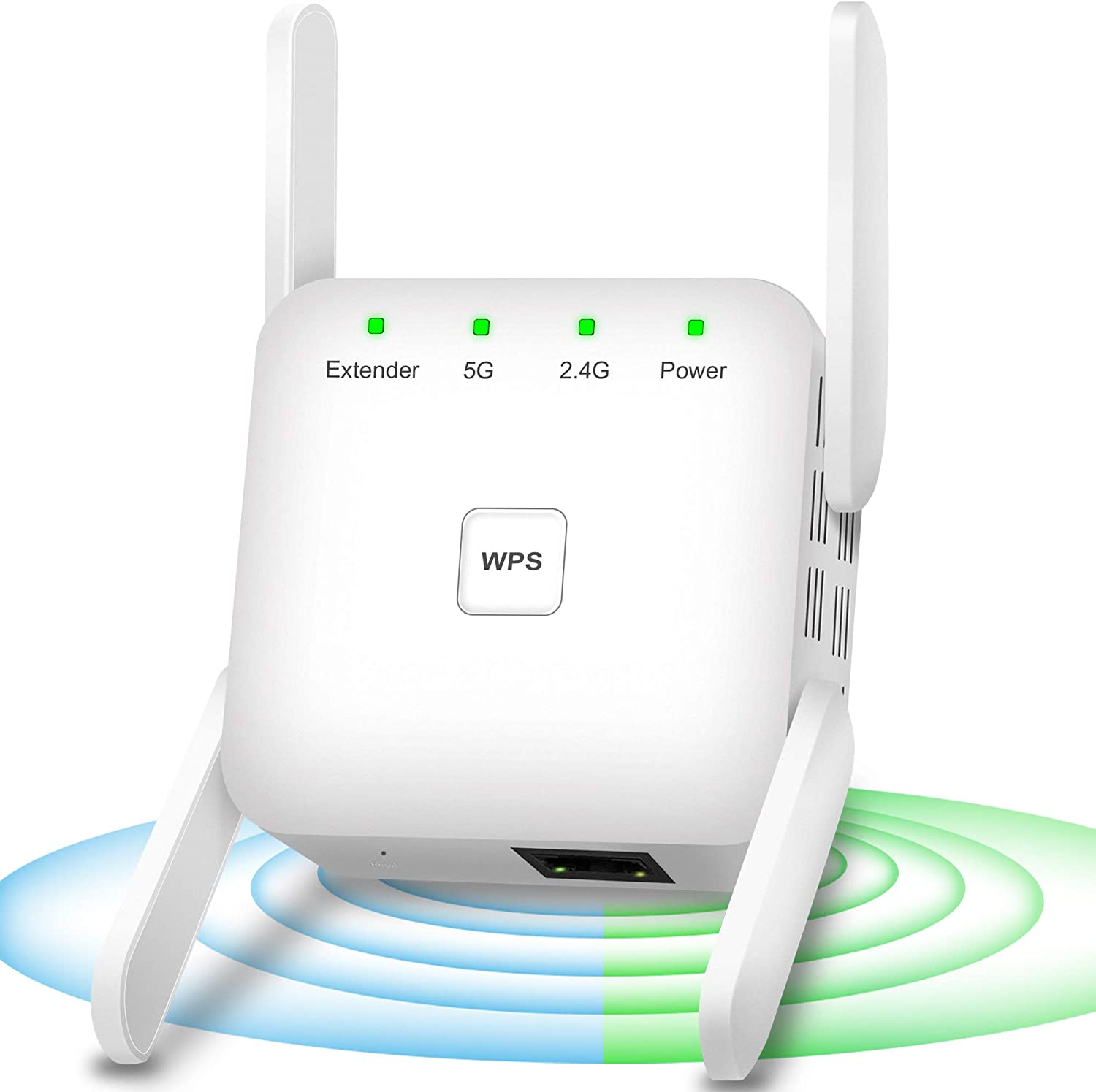 White 1200Mbps WiFi Booster High Speed WiFi Repeater 360/° Full Coverage Dual Bands WiFi Booster and Signal Amplifier WPS One-Key Setup WiFi Extenders Signal Booster for Home WiFi Extender