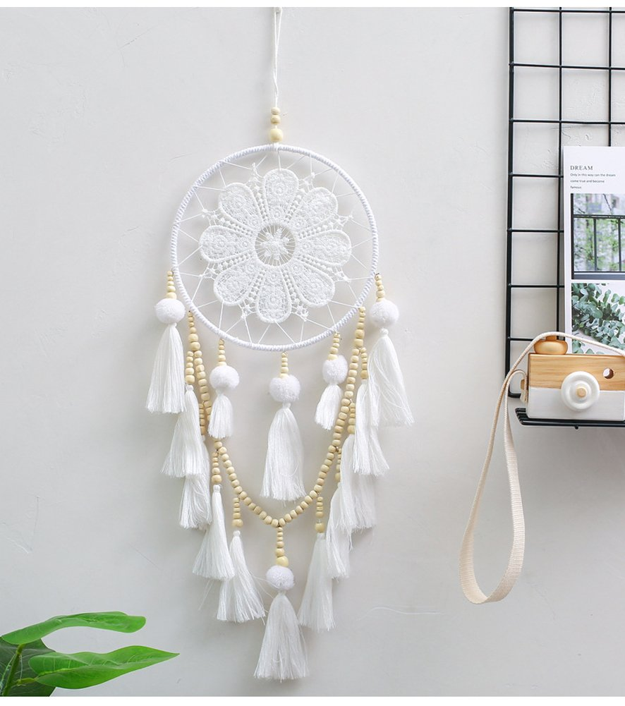 MEXIDAWN Macrame Wall Hanging Dream Catcher Design Home Art Decor Boho Chic Bohemian Home Apartment Dorm Room Decoration Girls Nursery, White 25.6 inches