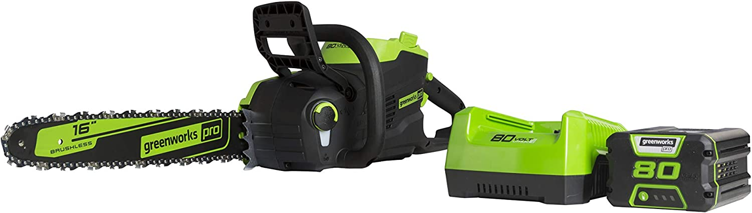 Greenworks Pro 80V 16″ Brushless Chainsaw with 2.5Ah Battery and Charger