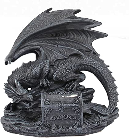 8 X 8 X 5 SF57 Large Collectible Mythical Black Dragon Beast Protecting a hinged Treasure Chest