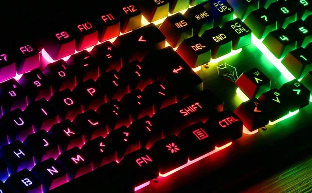 8//10 Keyboards Robotic Metal Panel Glowing Silent Mute Gaming Gaming Office for Typing Wired Used for Win7