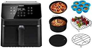 COSORI Air Fryer with Customizable 10 Presets & Shake Reminder,Cookbook(100 Recipes),Accessories XL, Set of 6 Fit all 5.8Qt, 6Qt Air Fryer, FDA Compliant, BPA Free, Dishwasher Safe, Nonstick Coating