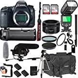 Canon EOS 6D Mark II 50mm f/1.8 STM Prime Lens + 128GB Memory + Canon Deluxe Camera Bag + Pro Battery Bundle + Power Grip + Microphone + TTL Speed Light + Pro Filters,(23pc Bundle)
