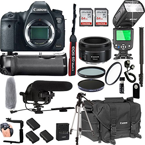 Canon EOS 6D Mark II With 50mm f/1.8 STM Prime Lens + 128GB Memory + Canon Deluxe Camera Bag + Pro Battery Bundle + Power Grip + Microphone + TTL Speed Light + Pro Filters,(23pc Bundle)