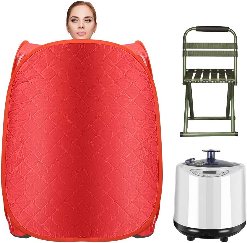KKTECT Portable Steam Sauna Spa, 2.2L Red Personal Foldable Sauna for Detox Relaxationat Weight Loss at Home, with Foldable Chair, Storage Bag, Remote Control, Fumigation Machine