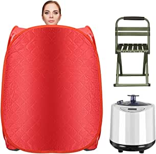 Kacsoo Portable Steam Sauna Spa, 1000W Folding Home Spa Sauna Tent, Full Body Loss Weight, 2.2L Larger One Person Spa Tent, Personal Sauna with 15 Temperature Levels, Remote Control, Foldable Chair