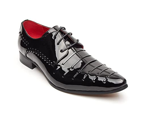 Hombre Niño Charol Rossellini Prato Z3 Forro De Piel Zapatos De Boda - Negro, 42 EU