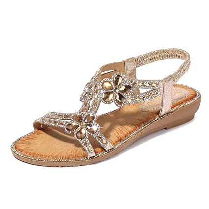 Womens Rhinestone Glitter Slippers Non Slip Slingback Open Toe Flat Flip Flops Beach Walk Sandals Comfy Indoor Outdoor Bathing Shoes