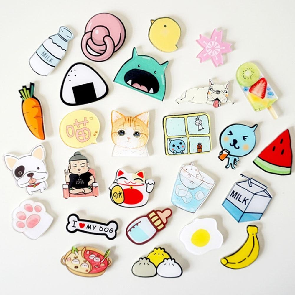 BleuMoo 3Pcs Fridge Magnets Refrigerator Magnetic Stickers Creative Cute Animal Cartoon Early Education Arylic Magnetite