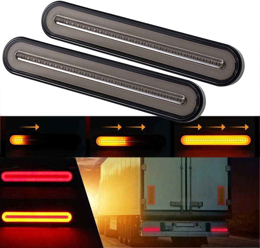 Gsrecy Gelb Rot 100 Led Dynamische Stop Flowing Blinker Bremse Rücklicht Für Anhänger Lkw Rv Pickup Suv Rv 2er Pack Auto