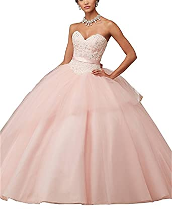 XUYUDITA Lace Appliques Ball Gown Evening Prom Dress Beading Sequined Quinceanera Dresses Long Pink-UK6