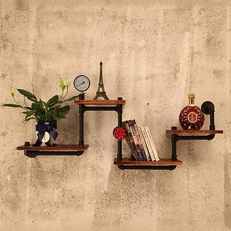 Estantería de tubos industriales Estantería de almacenamiento de escalera de madera moderna rústica 4 niveles Diseño de tubería de montaje en pared retro Estanterías de bricolaje, estantes flotantes: Amazon.es: Hogar
