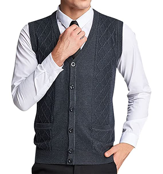 457c2b99e9a67 Lyamazing Men s Solid Color Argyle Pattern Button Down Sweater Vest with  Pockets  Amazon.ca  Clothing   Accessories