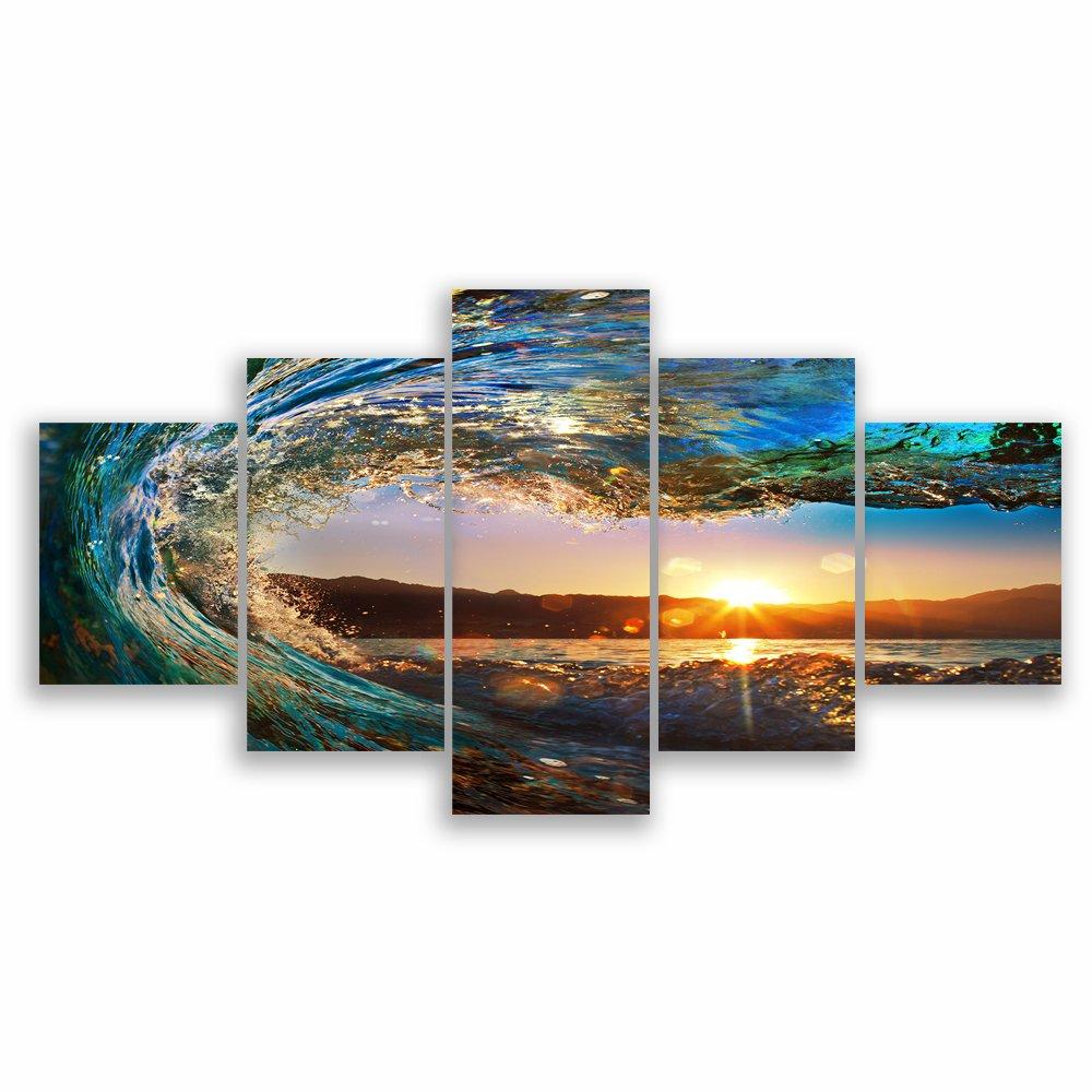 VV ART アートフレーム モダン 現代 逆巻く波 夕日の光 壁の絵 海の景色 壁掛け ソファの背景絵画 HD しゃしん 5パネルセット(木枠付きの完成品) B06XBNV226