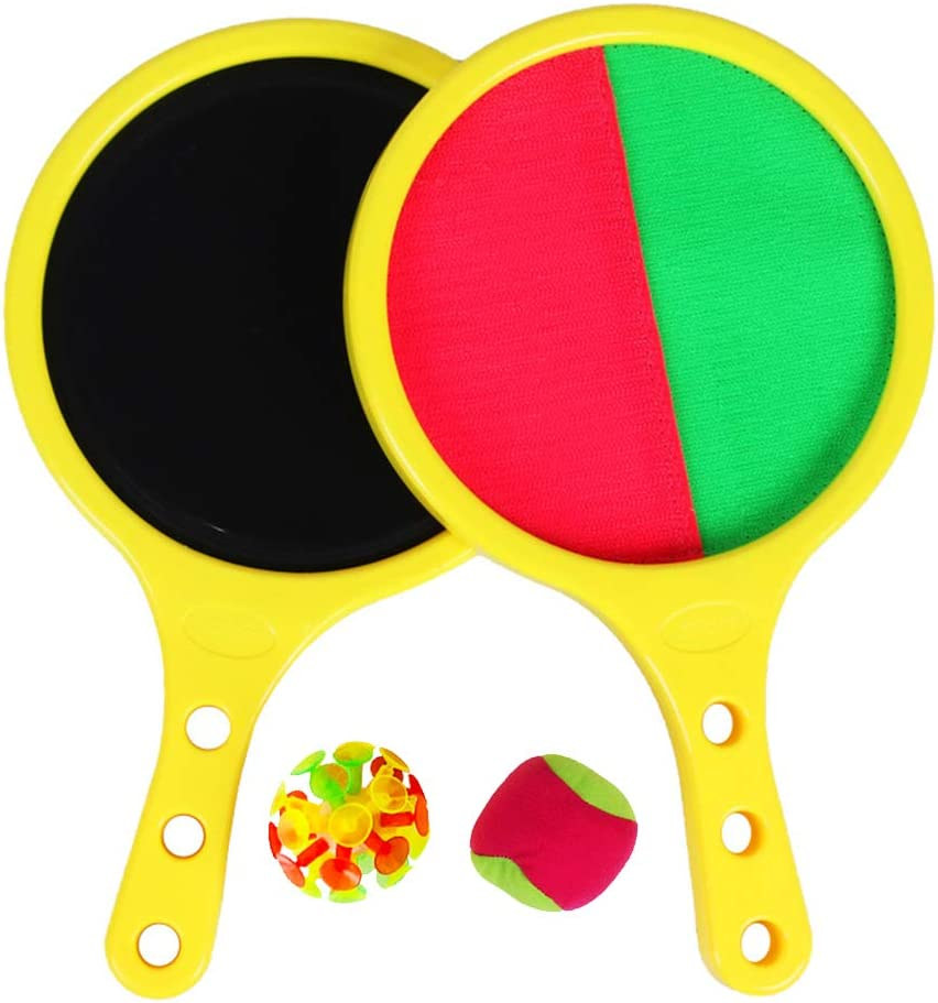 EQLEF Lanza Pelotas Padel, Velcro Self-Stick Racket Throw and Catch Juego Deportivo Juego Sand Beach Toys for Kids Presents Set