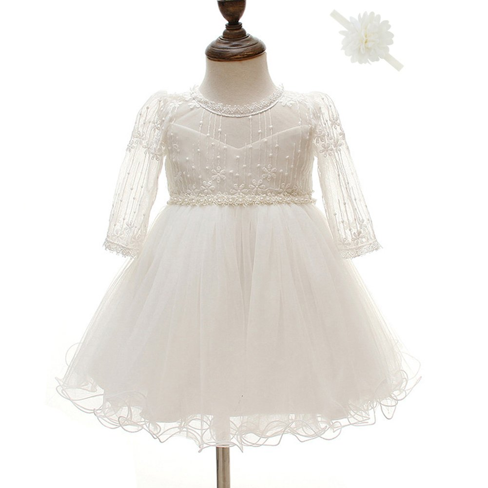 Dreamy Lantana Baby Flower Girl Dress Pageant Formal Princess Dresses (3M, Cream White)