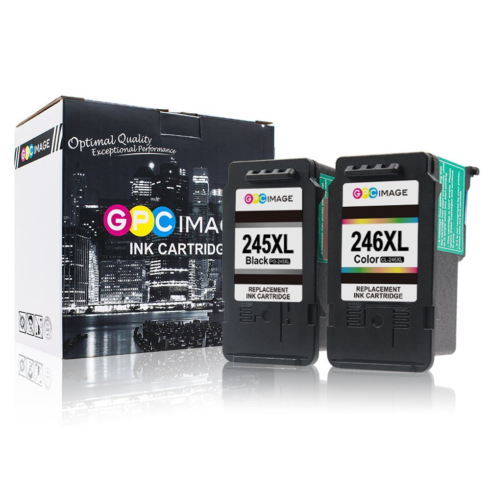 GPC Image Ink Cartridge Replacement for Canon PG-245XL CL-246XL PG-243 PG-244 to use with PIXMA MG2522 MX492 MG3022 MX490 MG2520 MG2922 MG3020 MG2920 IP2820 (Black, Tri-Color, 2 Pack)